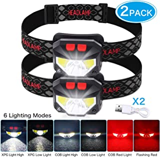 Rechargeable Headlamp,USB Rechargeable Headlamp,Sensor USB Rechargeable Headlamp, CREE Waterproof Headlamp of Lightweight 6 modes, Comfortable for Running, Camping, Fishing, Hiking, Hunting, Adventure