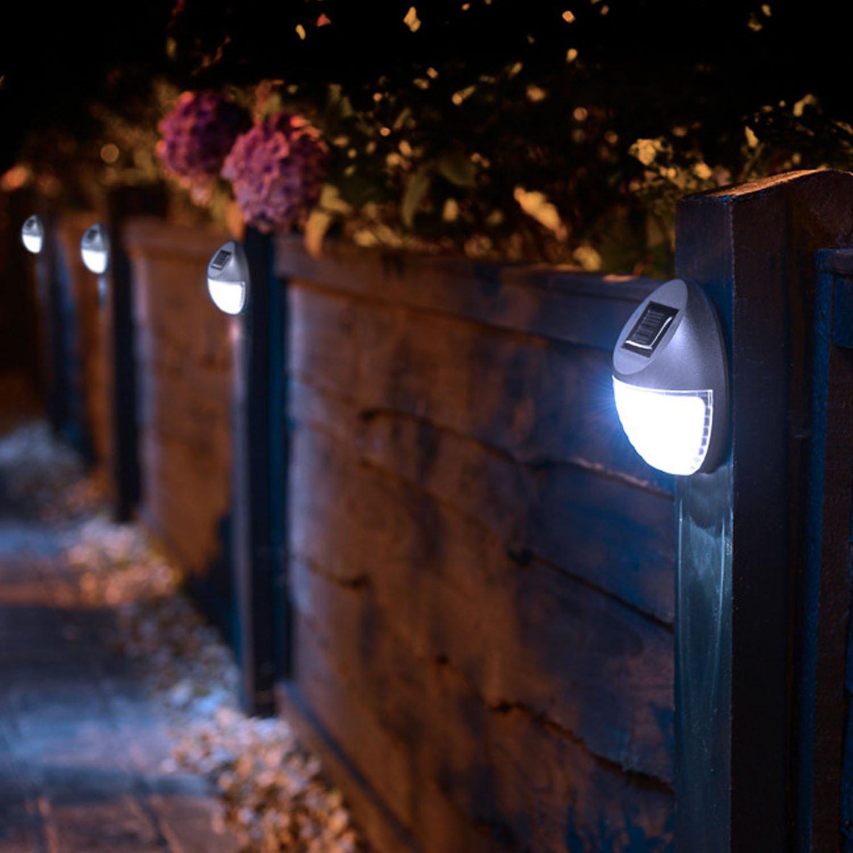 8 luces solares led exteriores para jardín, cerca, iluminación, camino, puerta: Amazon.es: Iluminación