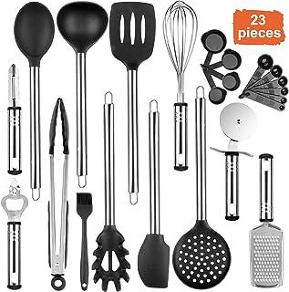 Tintec Kit de Utensilios de Cocina Silicona 23pcs, Juego de Herramientas de Cocina Silicona Resistente al Calor con Manija de Acero Inoxidable