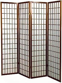 3 Pannelli Dim H 178,6 cm PEGANE Paravento Giapponesi Grandi vetri Bosco Bianco e Carta di Riso
