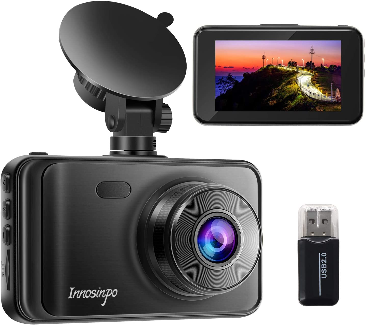 """Dash Cam【2021 New Version】 1080P FHD DVR Car Dashboard Camera Recorder 3"""" LCD Screen 170° Wide Angle, Super Night Vision, G-Sensor, WDR, Parking Monitor, Loop Recording, Motion Detection"""