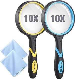 ذره بین Dicfeos 2 Pack ، ذره بین 4X دستی برای کودکان و بزرگسالان ، لنز شیشه ای با کیفیت 3 اینچ ، ضد خراش ، ضد پارچه ، پارچه تمیز کننده میکرو الیاف