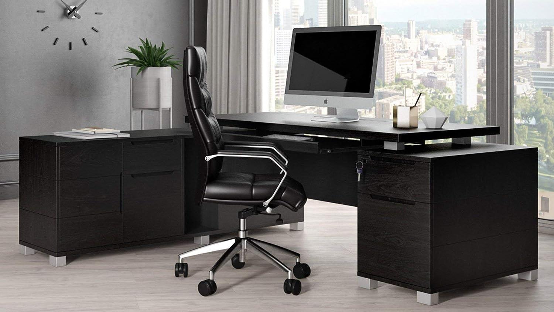 Ford 業界No.1 Black Oak Veneer Executive Filing 激安通販ショッピング with Modern L-Shaped Desk