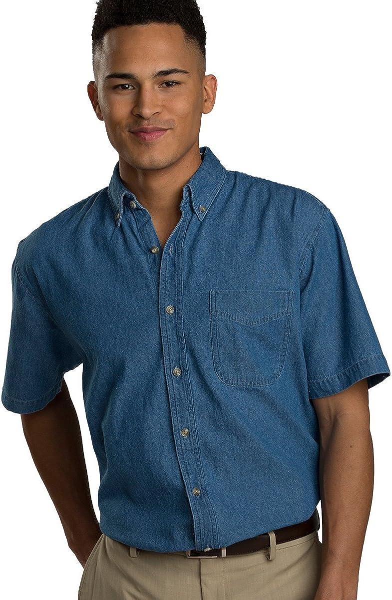 Ed Garments Men's Mid-Weight Short Sleeve Denim Shirt, Navy, 6X-Large T