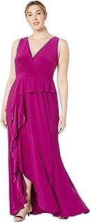Women's Plus Size Jersey Cascade Evening Gown