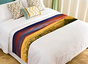 Custom Mown Wheat Field on the Hills in Sicily at Sunset Nature Scenery Bed Runner Bedding Scarf Size 20x95 inches