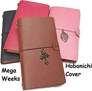 B6 Slim/Hobonichi Mega Weeks Cover Asian Vintage Travelers Notebook Faux Leather Journal Refillable Diary Complete Set (Pink)