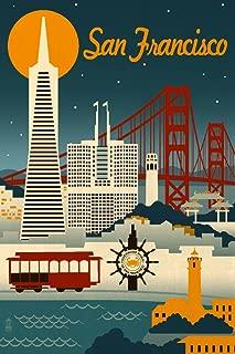 San Francisco, California - Retro Skyline (24x36 Giclee Gallery Print, Wall Decor Travel Poster)