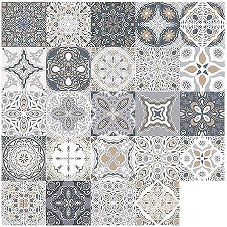 48pcs Pegatinas de Azulejos, Calcomanías de Azulejos Mosaico Retro Estilo Marroquí Autoadhesivo Azulejo Transferencias Pegatinas DIY Para Cocina Baño Decoración del Hogar (10 x 10 cm, 48PCS)