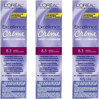 L'Oreal Excellence Creme 8.3 Medium Golden Blonde Hair Tint HC-06210 (3 Pack)