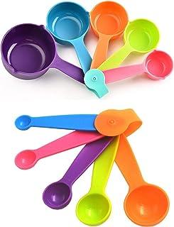 Lot de 10 Cuillères Doseuses Cuillères et Tasses à Mesurer en Plastique Doseurs de Cuisine pour des Mesures Précises de Vo...