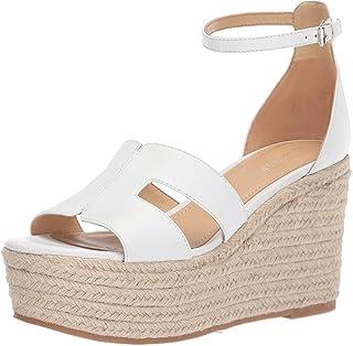 Nine West Women's wnADELYN Wedge Sandal, White, 8 M US