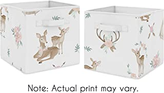 Sweet Jojo Designs Blush Pink, Mint Green and White Boho Organizer Storage Bins for Woodland Deer Floral Collection - Set of 2