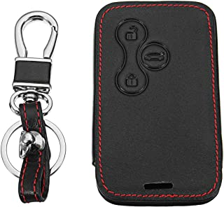 Key Case for Car - 3Buttons PU Leather Car Remote Key Cover Shell Case Bag Red Line for for Renault Megane R.S. RS Scenic