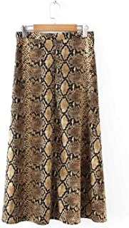 Women Elegant Snake Print midi Skirt Faldas Mujer Side Zipper Casual Streetwear Skirts