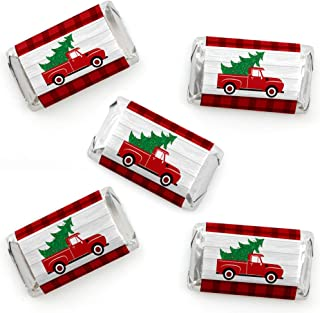 Big Dot of Happiness Merry Little Christmas Tree - Mini Candy Bar Wrapper Stickers - Red Truck Christmas Party Small Favors - 40 Count