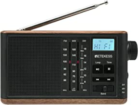 Retekess TR613 AM FM Shortwave Radio Portable, Transistor Retro Radio, Personal Wood Tabletop Radio, Support TF Card and B...