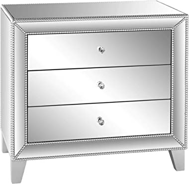 """Liza 30"""" Wide Mirrored 3-Drawer Accent Table - Studio 55D"""