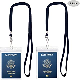 Passport Badge Holders with Extra PVC ID Card Holder and Woven Lanyards Ideal for Cruise and Vacation By Cypes (2Pack Black Lanyards)