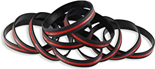 Firefighter Awareness Support Thin Red Line Silicone Wristband Bracelets