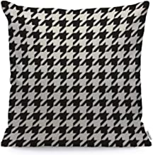 WONDERTIFY Throw Pillow Cover Case Black and White Houndstooth - Soft Linen Pillow Case for Decorative Bedroom/Livingroom/Sofa/Farm House - Cushion Covers Couch Pillow 18x18 Inch 45x45 cm