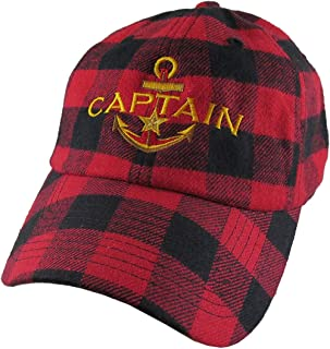 2520e5b4 Nautical Star Anchor Captain Embroidery on an Adjustable Buffalo Check  Structured Fashion Baseball Cap with Options