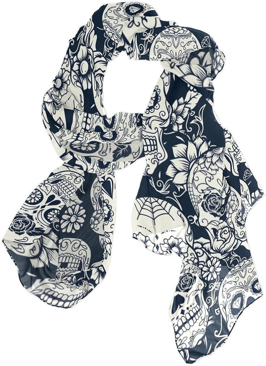 Use4 Fashion Day of the Dead Skull Floral Chiffon Long Scarf Shawl Wrap