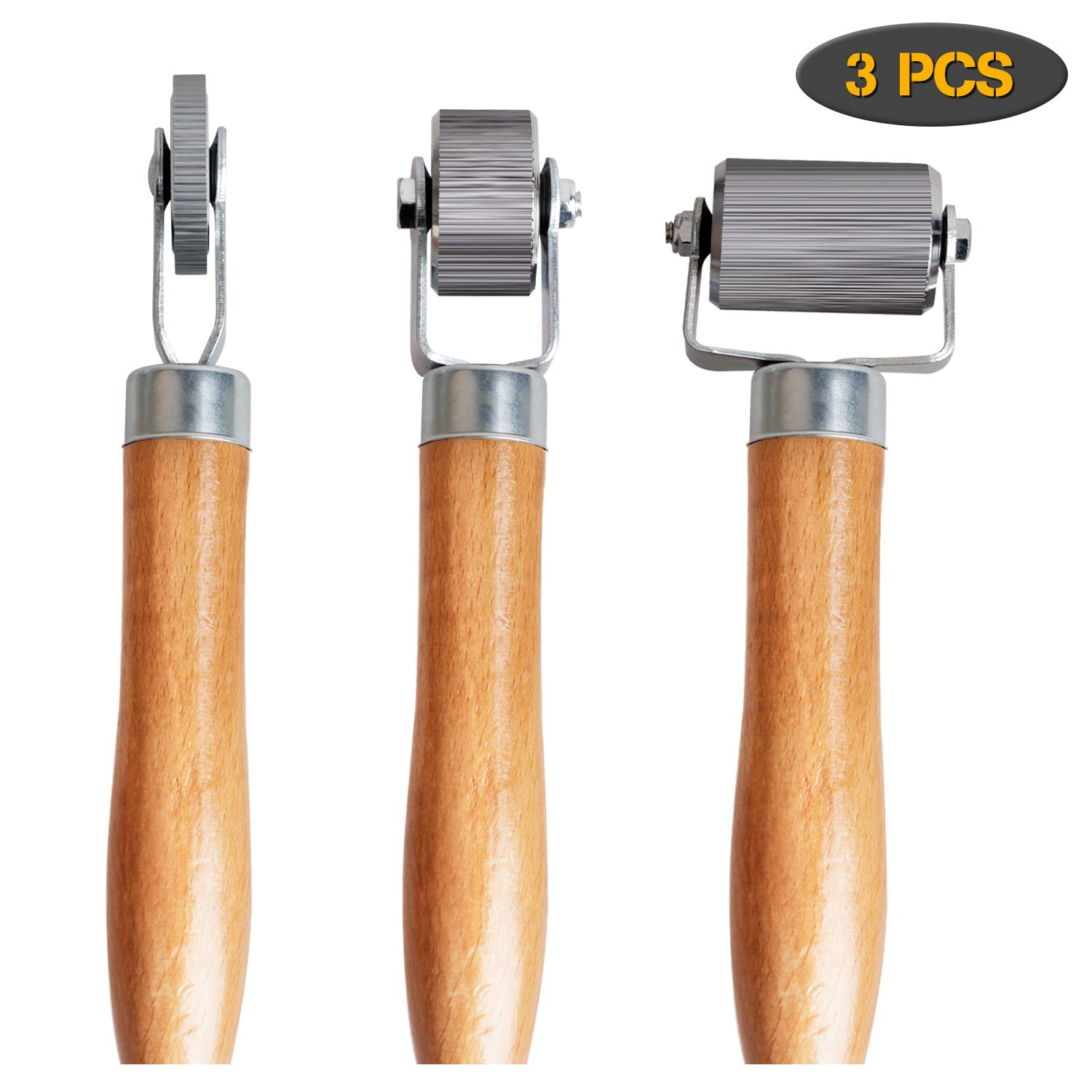 Car Sound Deadener Hand Roller Sound Noise Proof Insulation Tool 5PCS For Auto Noise Roller Car Sound Deadening Application Installation Tool Rolling Wheel Interior Accessories with Wood Handle