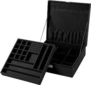 Sodynee Two-Layer Lint Jewelry Box Organizer Display Storage Case with Lock, Black