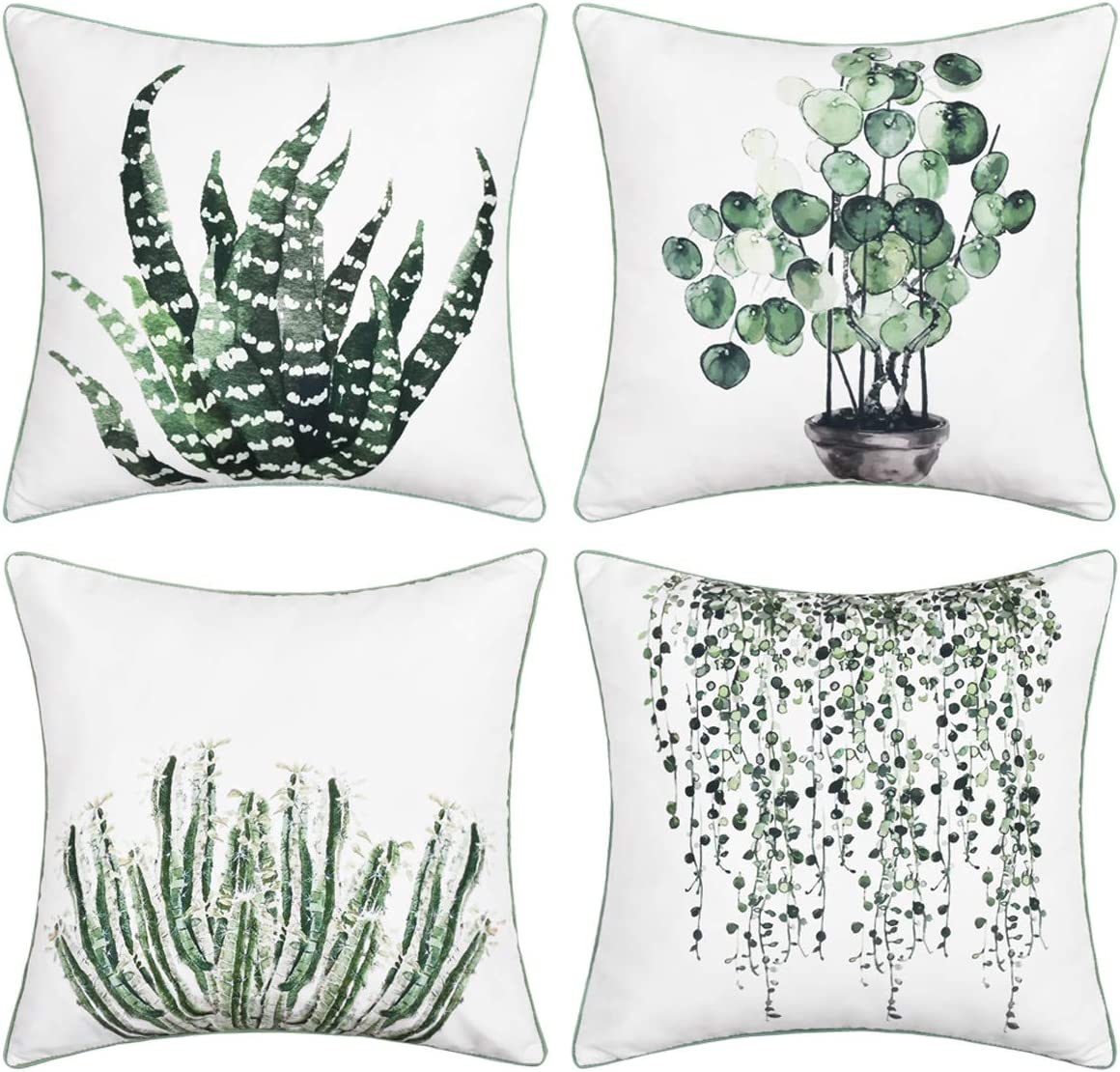 BLEUM CADE Green Plants Throw List price Cover Pillow Piping S Popular popular