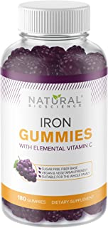 Sugar Free Iron Gummies with Vitamin C- Family Size 180 Gummies, Chewable Iron Supplement for Kids and Adults, No Metal Ta...