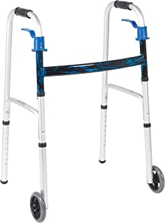 Walker Folding with Wheel 5 inches - Blue