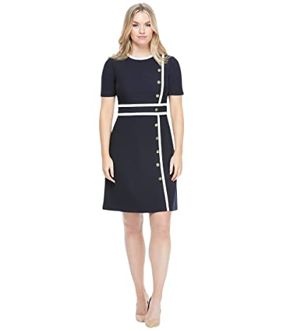 Maggy London Fit-and-Flare Dress with Button Detail (Soft White/Dark Navy) Women