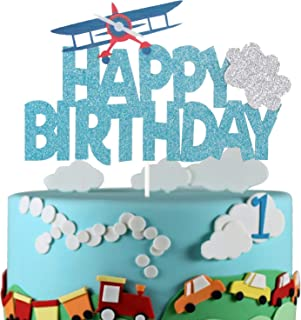 LILIPARTY Aeroplane Happy Birthday Cake Topper First Birthday Party Decoration Travel Theme Kids Birthday Party Supplies
