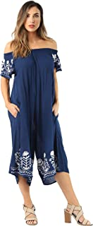 Riviera Sun Womens Off Shoulder Embroidered Jumpsuit Romper