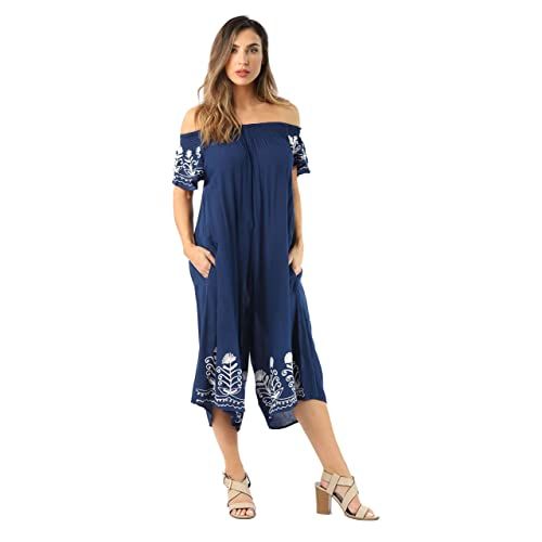 74b117858e4 Riviera Sun Womens Off Shoulder Embroidered Jumpsuit Romper