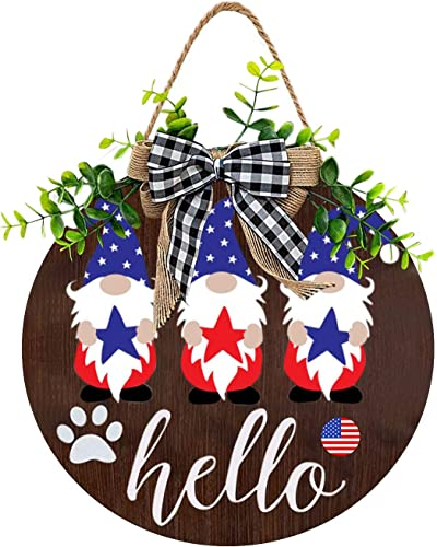 lowest 12In Independence Day Welcome Sign for Front Door Housewarming Hello Sign with Cute Gnome Painting wholesale Summer discount Fall Welcome Wreath Front Porch Outdoor Restaurant Home Decor outlet sale