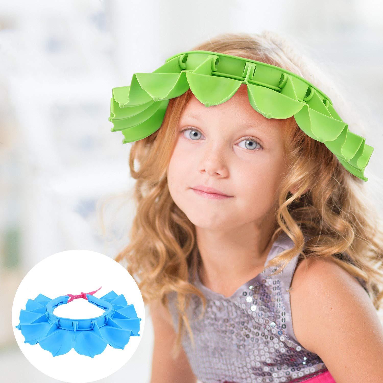 2Pack Baby Proofing Shower Cap Shampoo Shield, Adjustable Bathing Hat for Toddler Kids Eye Safety,Blue+Green
