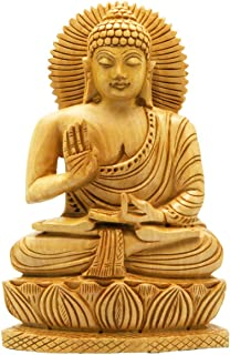 Buddha Groove Hand Carved Wood Sitting Buddha Statue