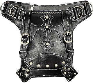 OKMPL Fanny Packs Steampunk Women Waist Bags Pu Leather Rivet Men Motorcycle Bag Female Crossbody Shoulder Holster Bag Thigh Leg Packs