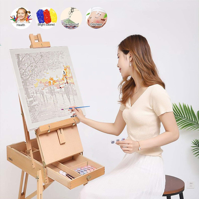 D/écoration Murale Peindre par Nombre pour Adultes Enfants D/ébutant Herefun Peindre par Nombre DIY Peinture /à lhuile Kits avec Pinceaux pour Cadeaux danniversaire