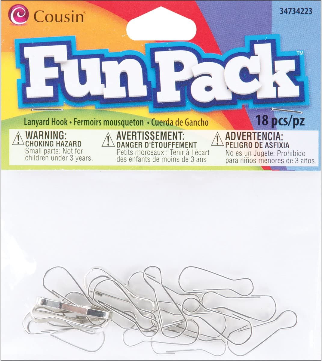 Cousin 34734223 Free shipping on posting reviews Fun OFFicial mail order Packs Hook 18-Piece Lanyard