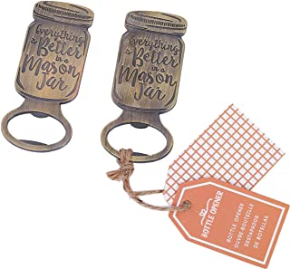 WeddParty Pack of 24 Mason Jar Bottle Openers Wedding Party Favors for Guests Beer Cola Opener With Kraft Tag for Bridal Baby Shower Party,Anniversary,Birthday,Decorations(Mason Jar)