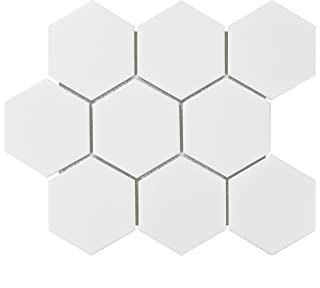 SomerTile FWRM4HMW Retro Super Hex Porcelain Mosaic Floor & Wall Tile, 10