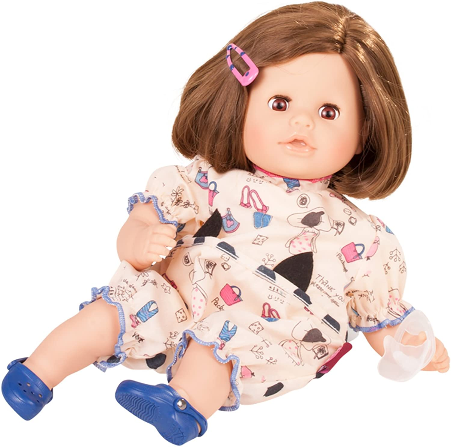 Gotz 1716062 Cosy Aquini Wonderland Doll  33 cm Bathing Baby Doll With Brown Hair And Brown SleepingEyes  Suitable Agegroup 3+