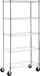 AmazonBasics 5-Shelf Shelving Unit on 4in Casters, Chrome (Renewed)