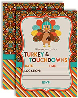 Turkey & Touchdowns Thanksgiving Party Invitations, 20 5