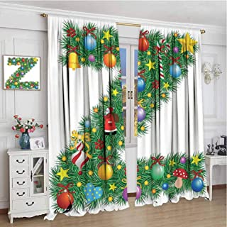 GUUVOR Letter Z All Season Insulation Traditional Themed Font Design Z with Colorful Ornaments Christmas Santa Claus Noise Reduction Curtain Panel Living Room W108 x L108 Inch Multicolor