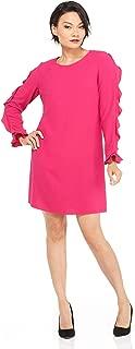 London Times Women's Long Sleeve Round Neck Crepe Shift Dress w. Ruffle
