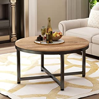 Round Coffee Table Rustic Coffee Table for Living Room Balcony Home Office Wood Desktop Metal Frame